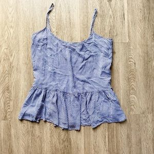 Old Navy Gingham Peplum Tank Top Blue Size XL
